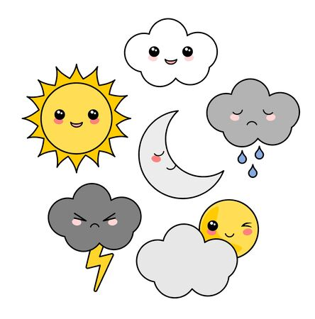 Cute Kawaii weather icon set
