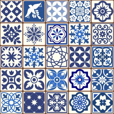 Patrón de azulejos portugueses azules - vector de azulejos, azulejos de diseño de interiores de moda