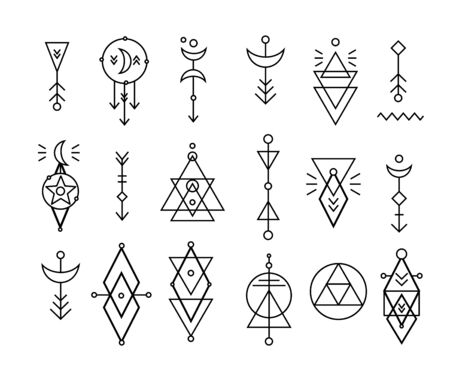 Hipster sacred geometric shapes vector set