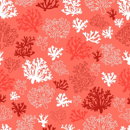 Koralowy bezszwowy wzór wektorowy z kolorem roku 2019 - żywa paleta kolorów koralowych Ilustracje wektorowe