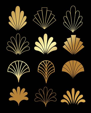 Beautiful set of Art Deco, Gatsby palmette ornates from 1920s fashion and design trends vector Ilustracja