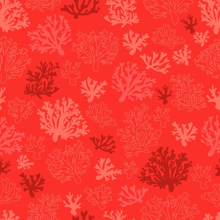 Coral seamless vector pattern with color of the year 2019 - living coral color palette