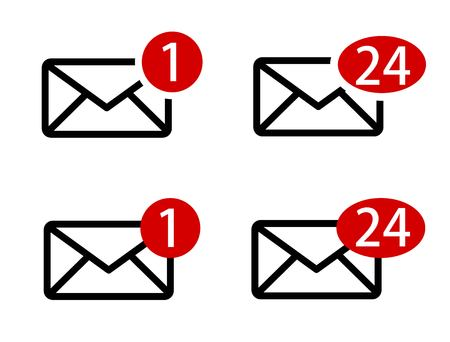 Set of envelope icons with message sign vector