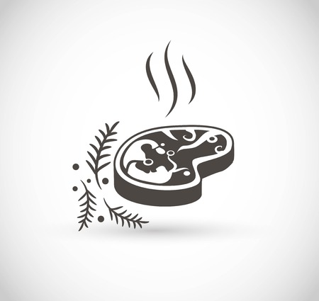 Steak icon with spices vector icon