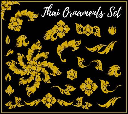 Thai Decorative elements vector set