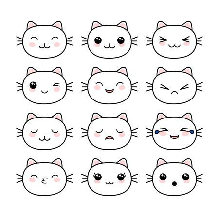 Set di facce di animali carini in stile kawaii vettore Vettoriali