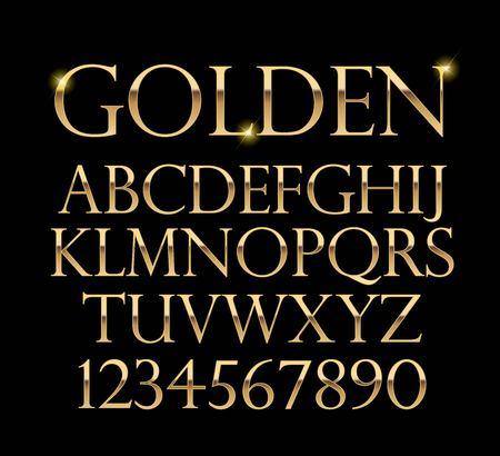 Luxuriöser Goldalphabetvektor auf schwarzem Hintergrund