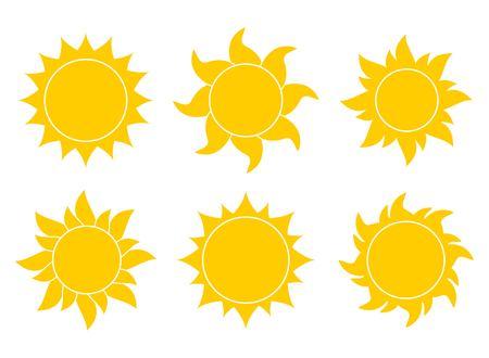 Sun icon set vector  イラスト・ベクター素材
