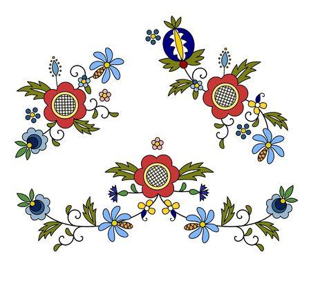 Traditional, modern Polish - Kashubian floral folk decoration vector, Kashubian patterns, Kashubian pattern, embroidery Ilustracja