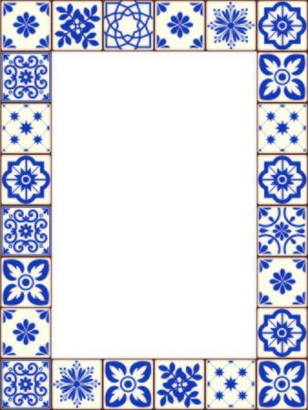Beautiful Azulejo tiles vector frame Illustration
