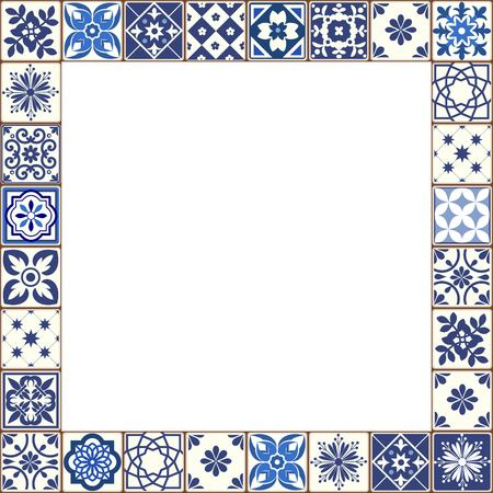 Beautiful Azulejo tiles vector frame  イラスト・ベクター素材
