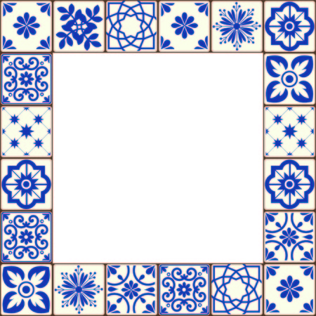 Beautiful Azulejo tiles vector frame Ilustração