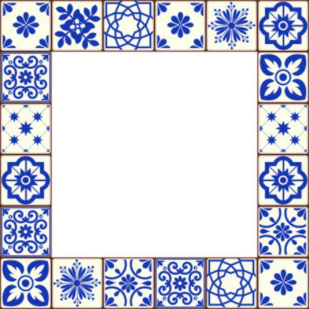 Hermoso marco de vector de azulejos de Azulejo