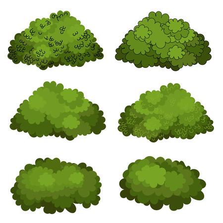 Zestaw zielonych krzewów wektor