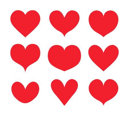 Red hearts shapes set, collection vector Ilustração