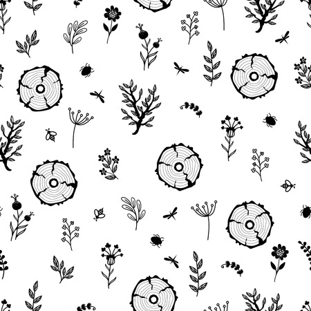 Beautiful seamless pattern with flowers and branches vector Ilustração