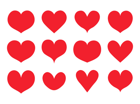 Red hearts shapes set, collection vector Ilustracja