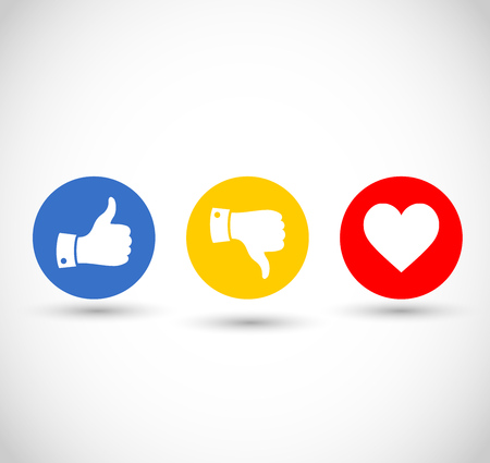 Social media thumbs up, down and heart icon set vector