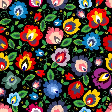 Hermoso vector de patrón popular floral tradicional polaco