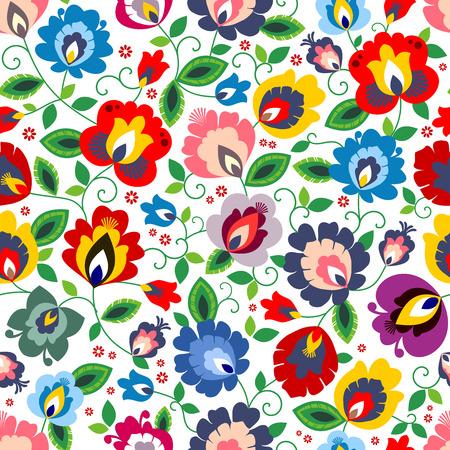 Beautiful Polish traditional floral folk pattern vector