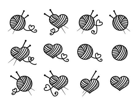 Knitting, beautiful vector icon set