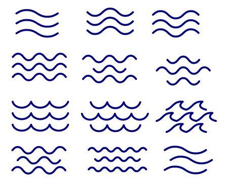 Conjunto de vector de ondas de línea fina, colección Ilustración de vector