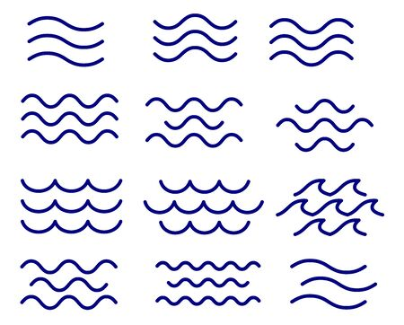 Set of thin line waves vector, collection Standard-Bild - 128742465