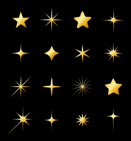 Set of different beautiful golden star and spakle shapes vector, collection