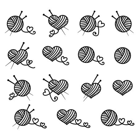 Knitting, beautiful vector icon set