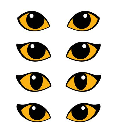 Cat and wild animals eye vector set Ilustracja
