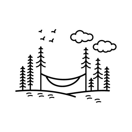 Minimalist hammock line vector illustration Ilustrace