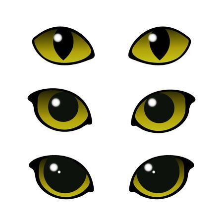 Cat and wild animals eye vector set Ilustração
