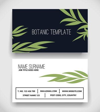 Beautiful Botanic Business Card Template vector Ilustracja