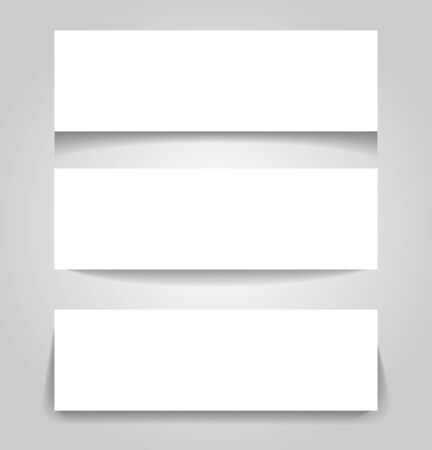 Set of three paper banners with different shadow styles VECTOR