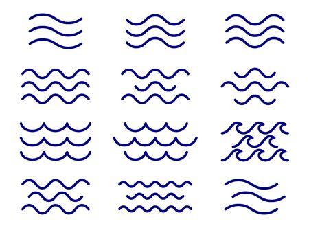 Set van dunne lijn golven vector, collectie