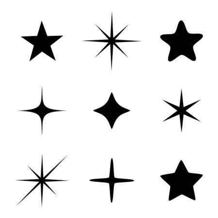 Set of different beautiful star and spakle shapes vector, collection Ilustração