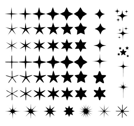 Set of different beautiful star and spakle shapes vector, collection Ilustracja