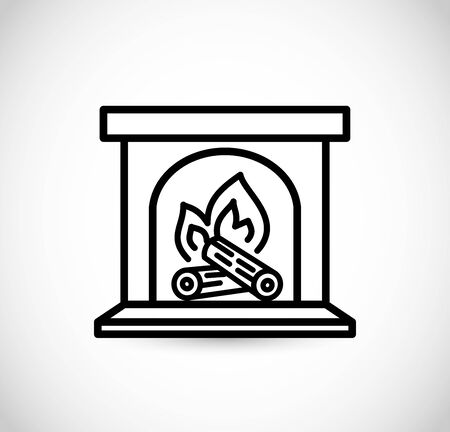 Fireplace icon vector thin line style