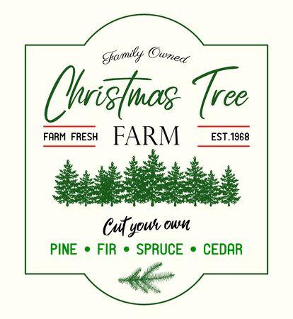 Christmas tree Farm retro vector advertising sign Vektoros illusztráció