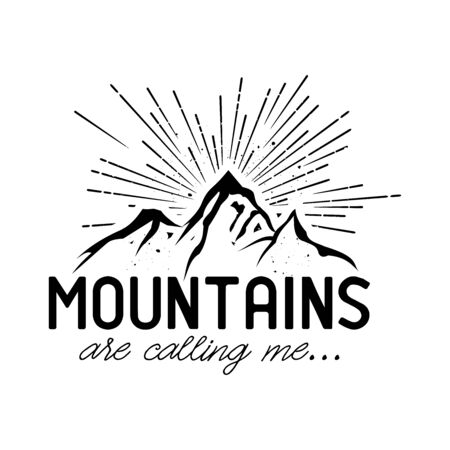 Mountains are calling me hipster, retro illustration vector  イラスト・ベクター素材