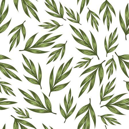 Beautiful vector pattern with green leaves Vektoros illusztráció