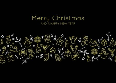 Beautiful Christmas card decor with thin line icons vector  イラスト・ベクター素材
