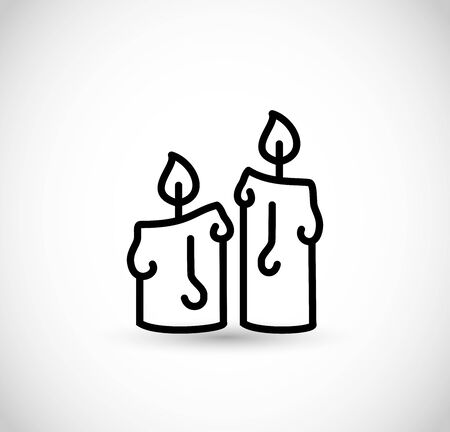 Candles vector line icon art