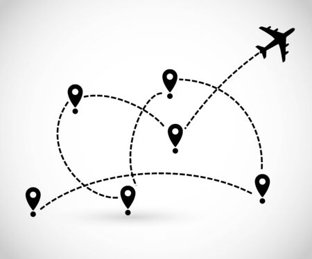 Icon with plane, destination and route of fly vector Illusztráció