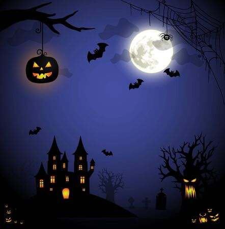 Spooky Halloween illustration with hounted castle, pumpkin lantern and evil tree in the moonlight vector Illusztráció