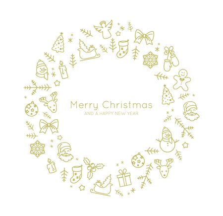 Beautiful Christmas card decoration made of thin line style icons vector Illusztráció