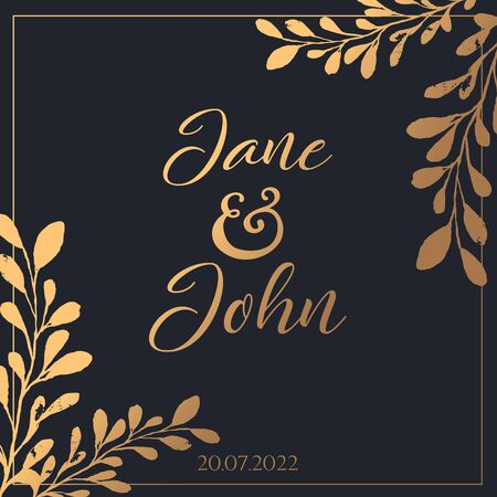 Beautiful wedding template on dark background with gold brnaches vector