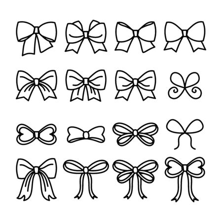 Set of thin line style ribbon bows vector icons