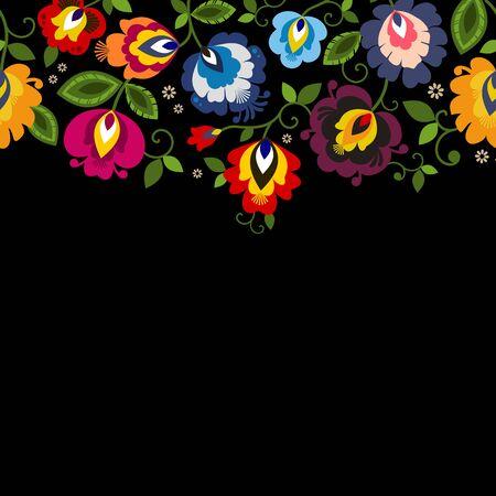 Beautiful Polish floral folk line seamless decoration vector  イラスト・ベクター素材
