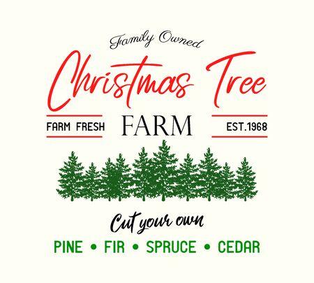 Christmas tree Farm retro vector advertising sign  イラスト・ベクター素材